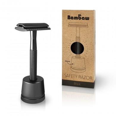 Rasoio Black in metallo con supporto - Bambaw