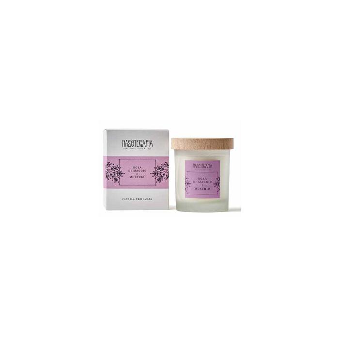 Candela Profumata Rosa di Maggio e Muschio Bianco 180 gr - Nasoterapia