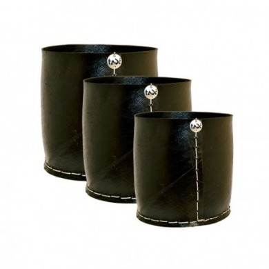 Set 3 Caches-Pots cilindrici in pneumatico riciclato - Tadé