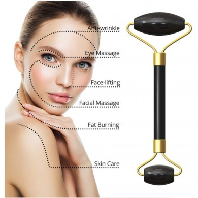 Jade Roller Ossidiana nera + Gua Sha massaggio viso - Natural Kind