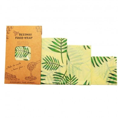 BeesWax Set di 3 fogli alimentari con cera d'api Leaf - Natural Kind