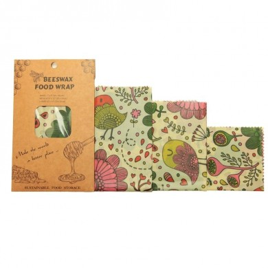 BeesWax Set di 3 fogli alimentari con cera d'api Bird - Natural Kind